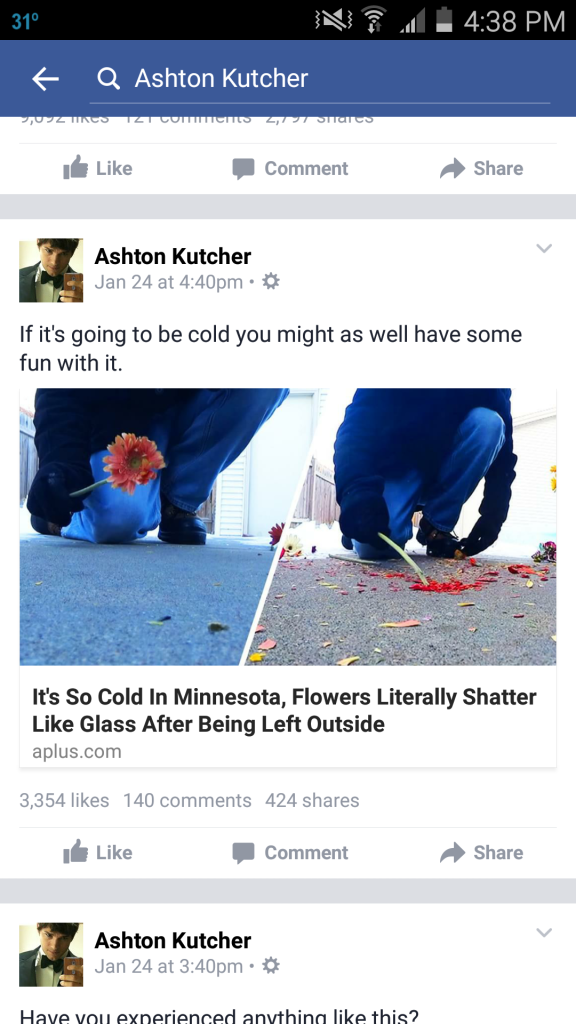 Ashton Kutcher Facebook Post Minnesota Cold