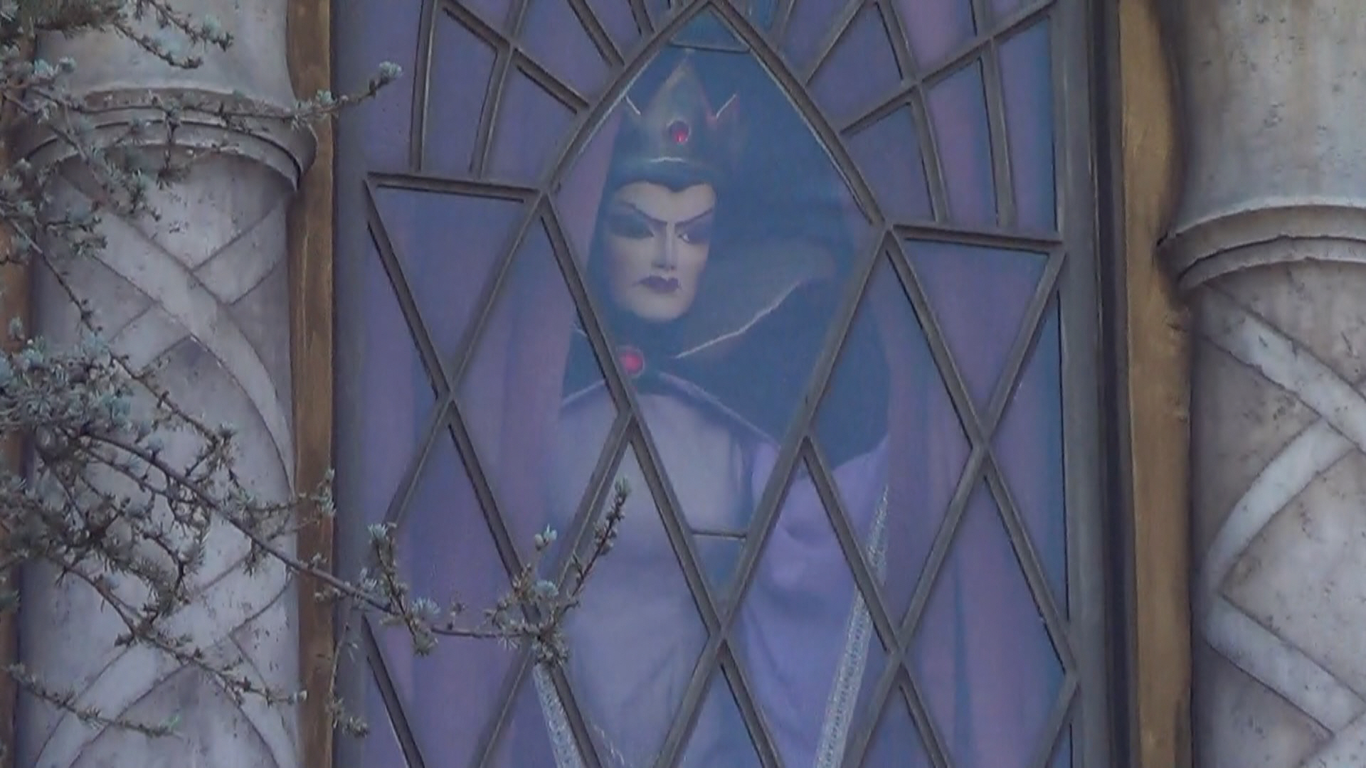 01 Disneyland - Maleficent peeking out from behind the drapes