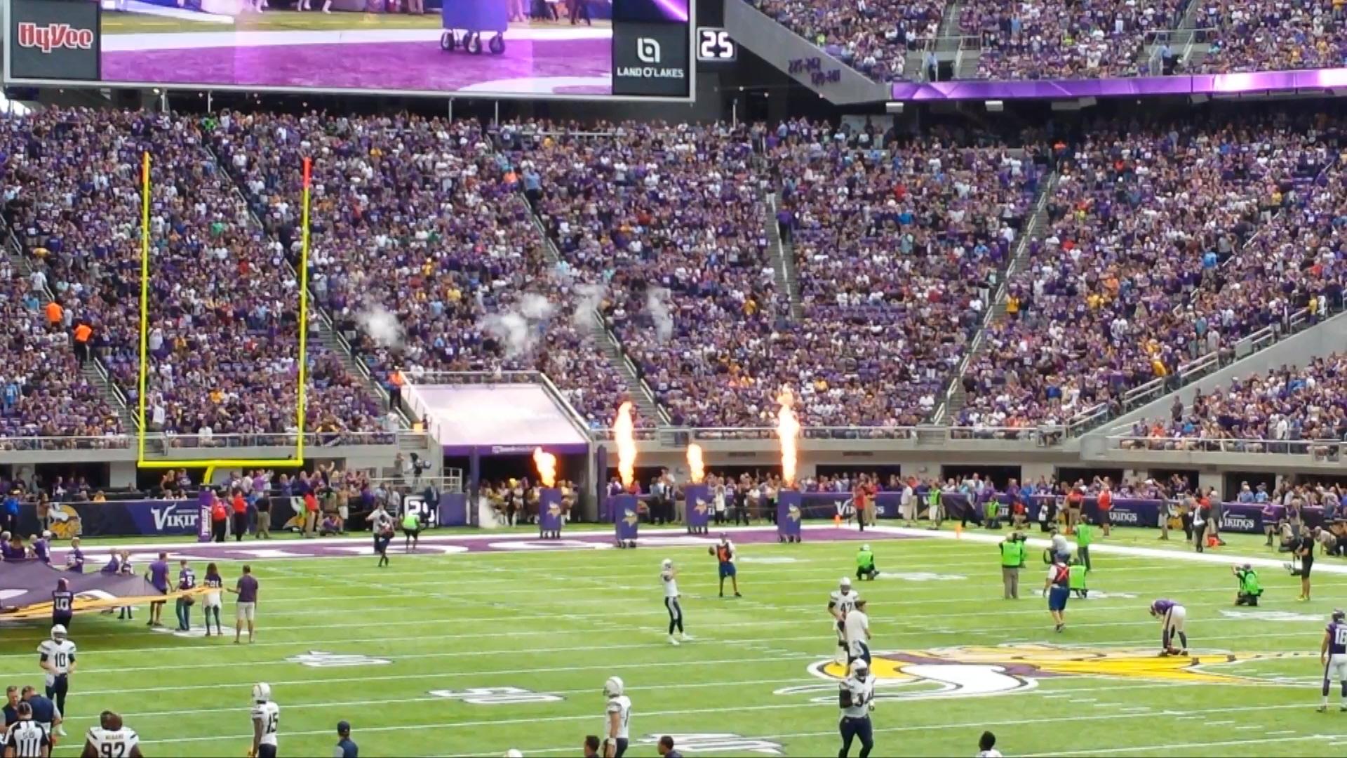 Minnesota Vikings U.S. Bank Stadium First Game - Fire