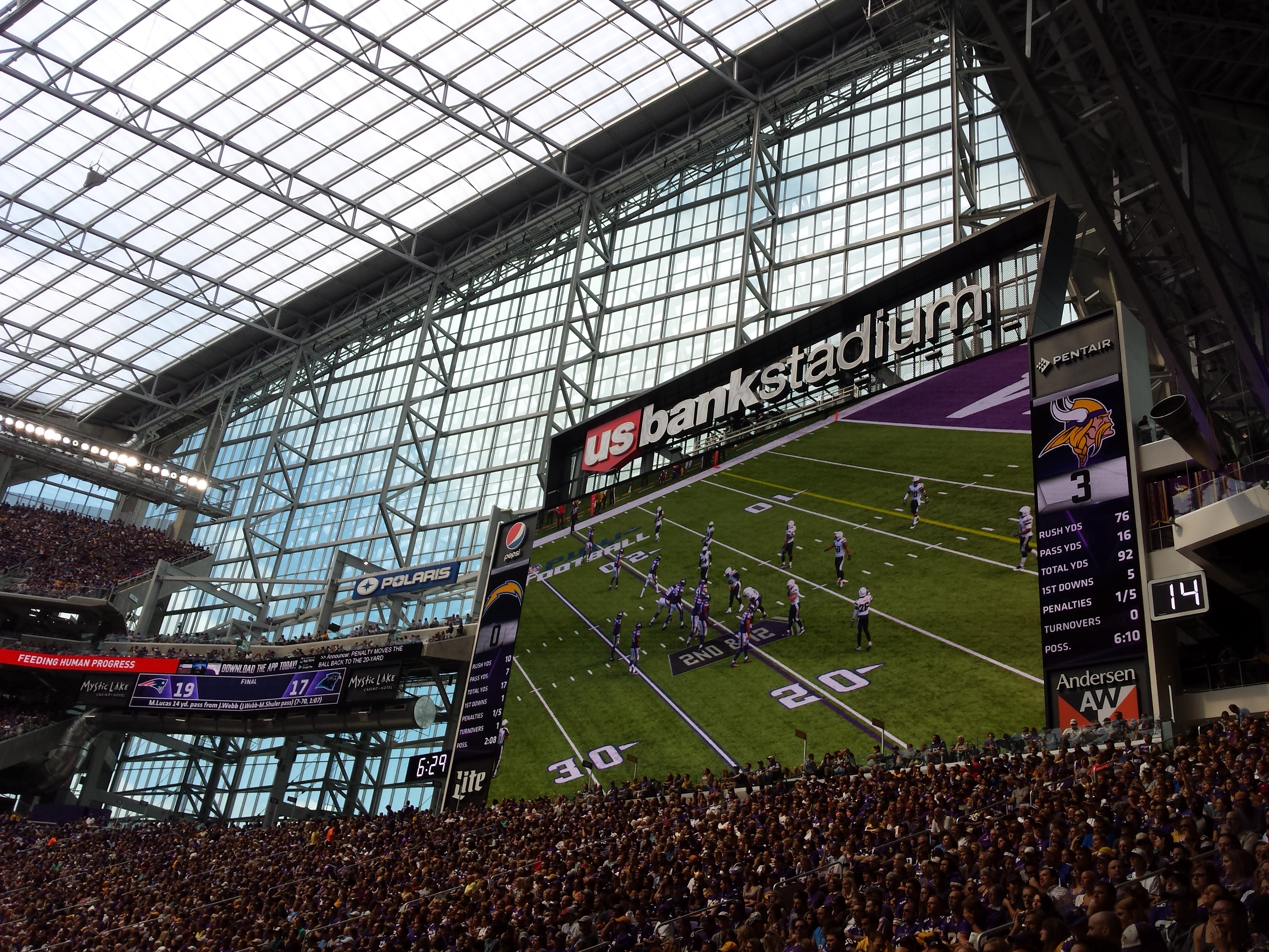 Minnesota Vikings U.S. Bank Stadium First Game - New Jumbotron