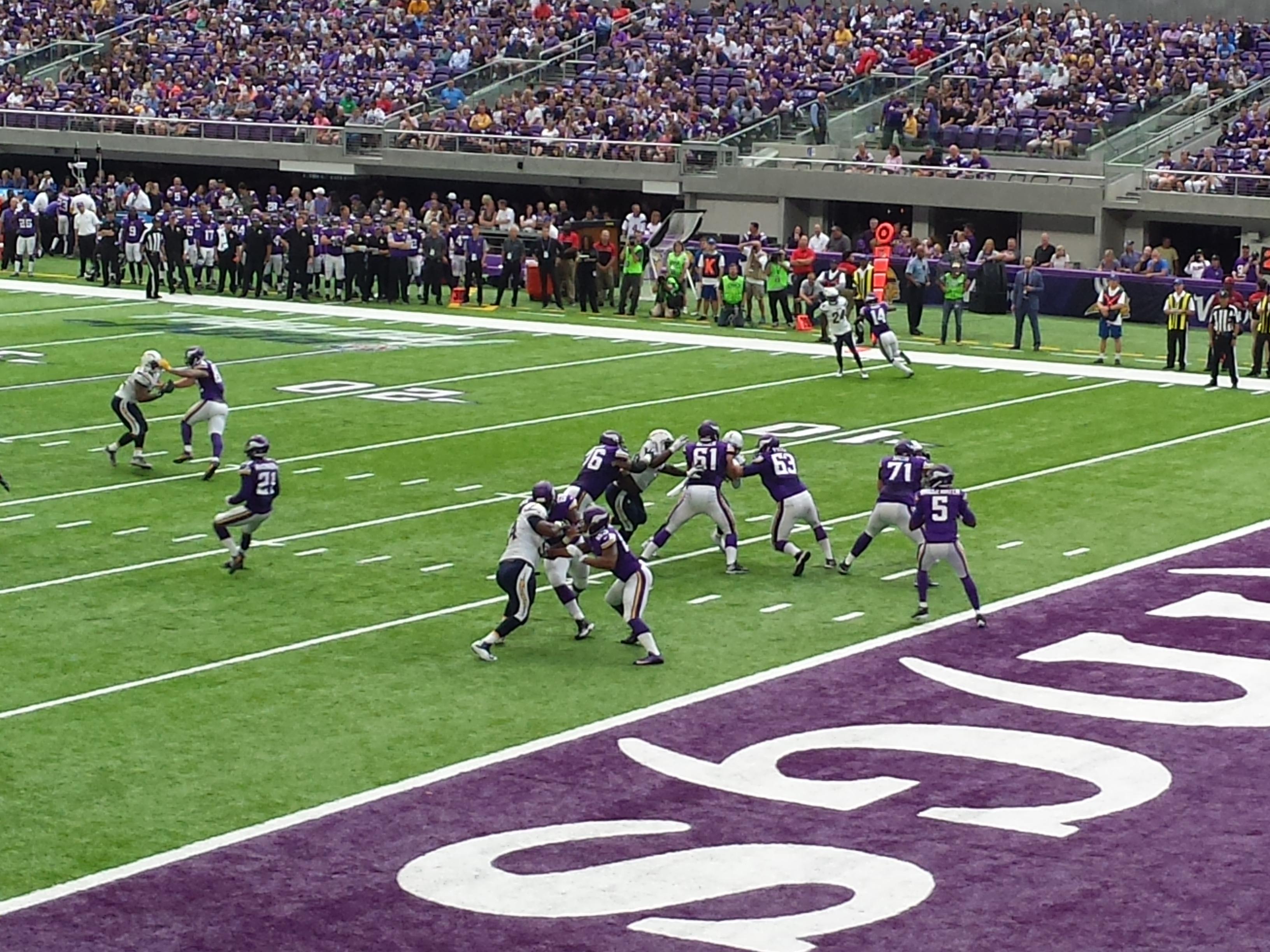 Minnesota Vikings U.S. Bank Stadium First Game - Teddy Bridgewater Drops Back